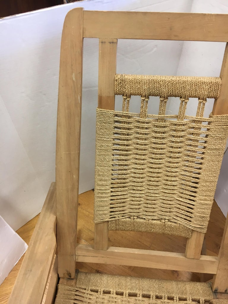 Mid-20th Century Mid-Century Modern  Rope Rocking Chair Rocker For Sale