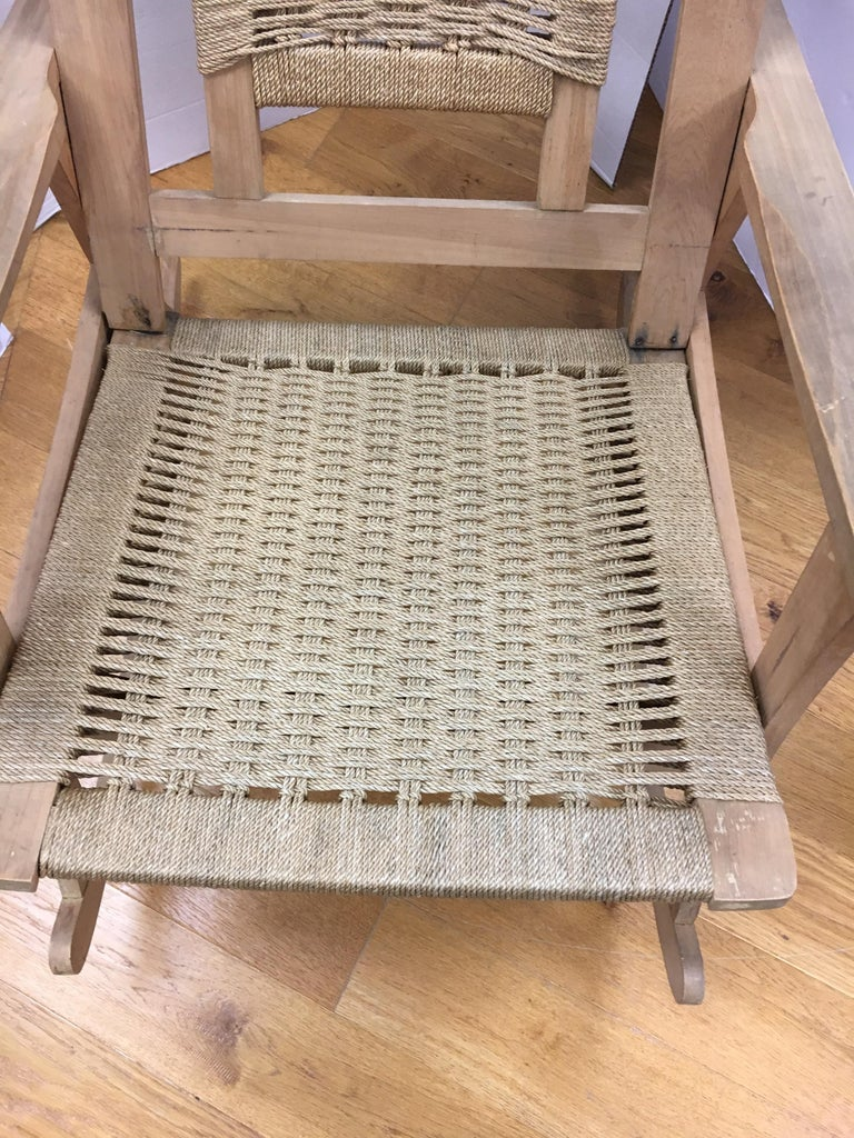 Mid-Century Modern  Rope Rocking Chair Rocker For Sale 2