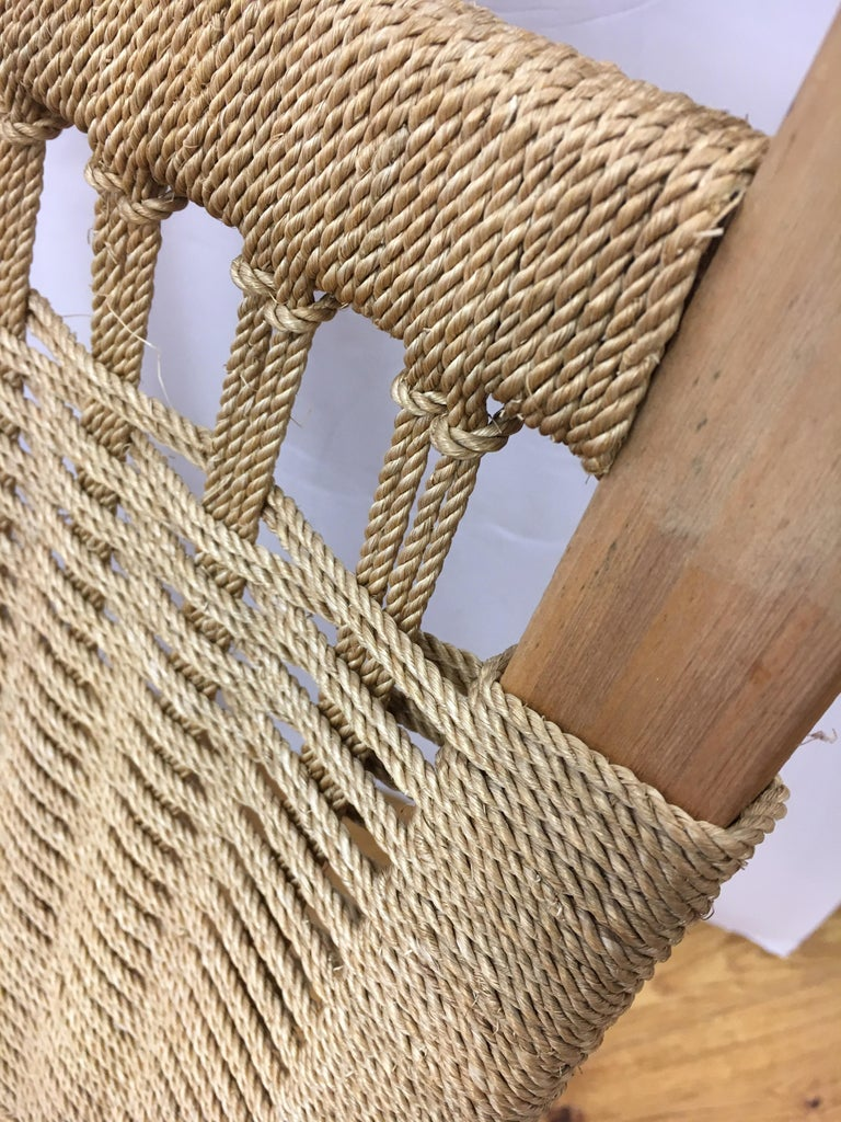 Mid-Century Modern  Rope Rocking Chair Rocker For Sale 4