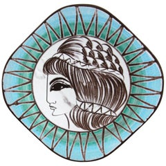Mid-Century Modern West German Greek Goddess Glazed Ceramic Wall Plate