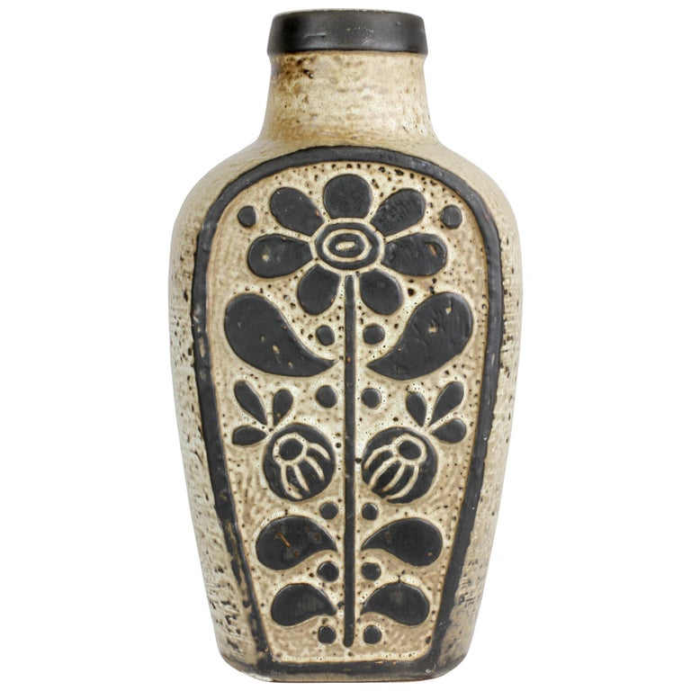 Mid-Century Modern West German Pottery Vase by Dieter Peter for Carstens, 1970s For Sale