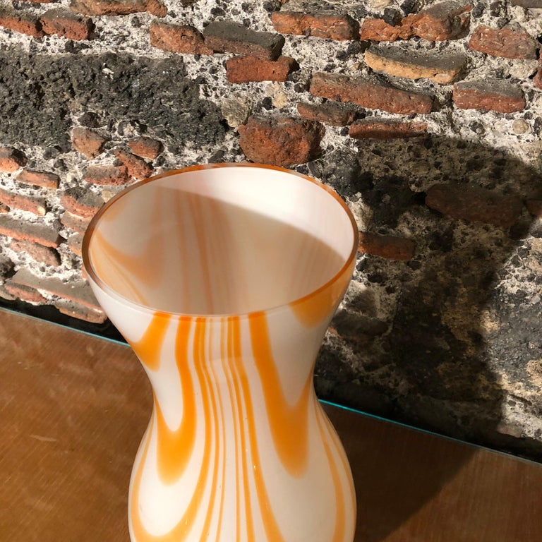 Mid-Century Modern White and Orange Opaline Murano Vase, 1970 2