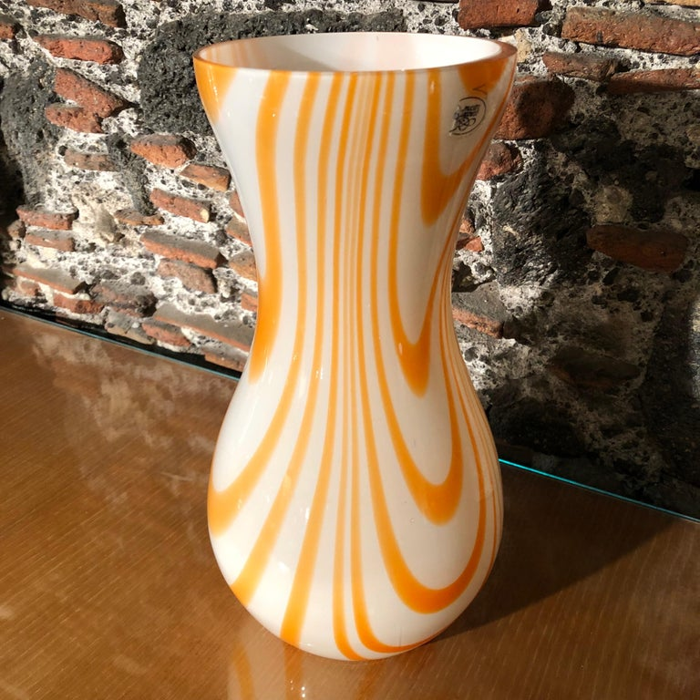 Mid-Century Modern White and Orange Opaline Murano Vase, 1970 4