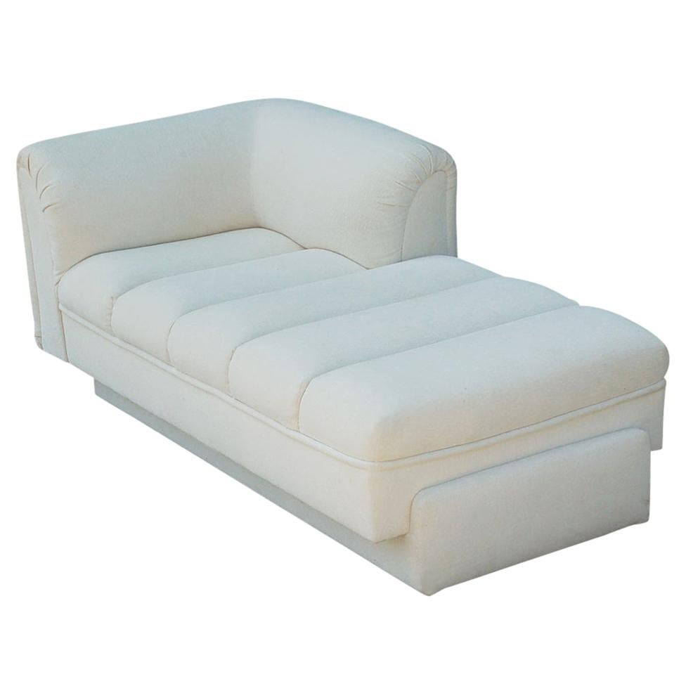 Mid-Century Modern White Channel Seat Chaise Lounge in White by Directional
