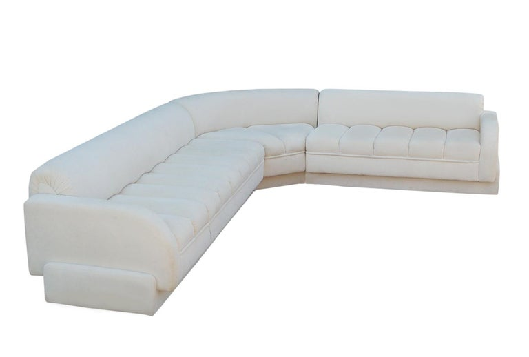 American Mid-Century Modern White Channel Seat Sectional Sofa in White by Directional For Sale