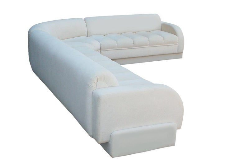 Fabric Mid-Century Modern White Channel Seat Sectional Sofa in White by Directional For Sale