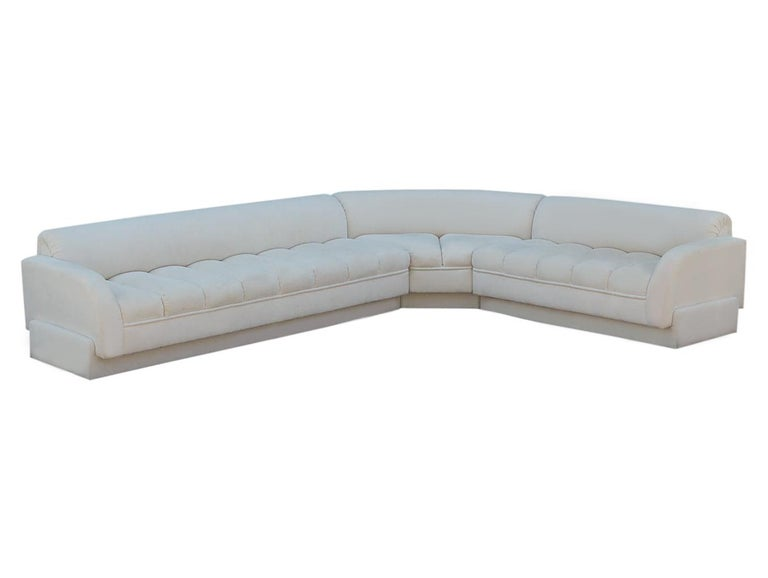 Mid-Century Modern White Channel Seat Sectional Sofa in White by Directional For Sale 1