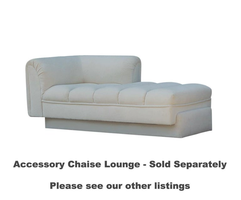 Mid-Century Modern White Channel Seat Sectional Sofa in White by Directional For Sale 2