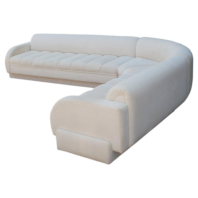 Mid-Century Modern White Channel Seat Sectional Sofa in White by Directional For Sale