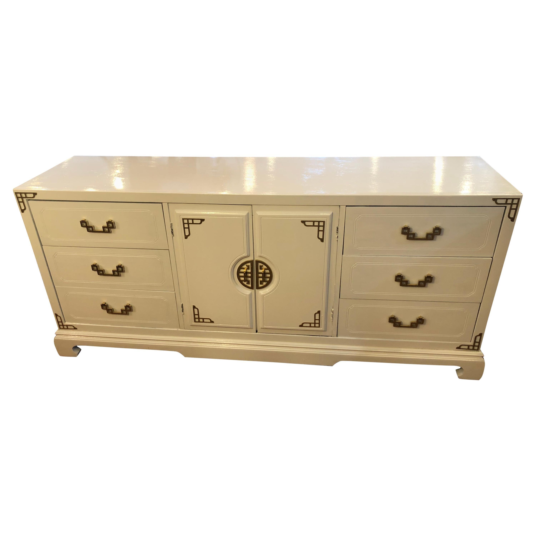 Mid-Century Modern White Dresser or Credenza