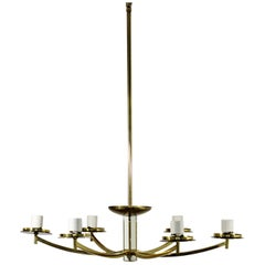 Mid-Century Modern White Enameled Brass Chandelier Light Fixture, 1960s