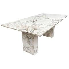 Mid-Century Modern White Italian Calacatta Marble Rectangular Dining Table