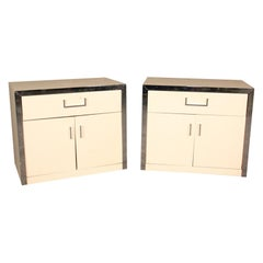 Mid-Century Modern White Lacquer and Chrome John Stuart Nightstands Tables, Pair