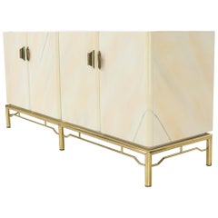 Mid-Century Modern White Lacquer Faux Finish Door 4 Doors Credenza on Brass Base