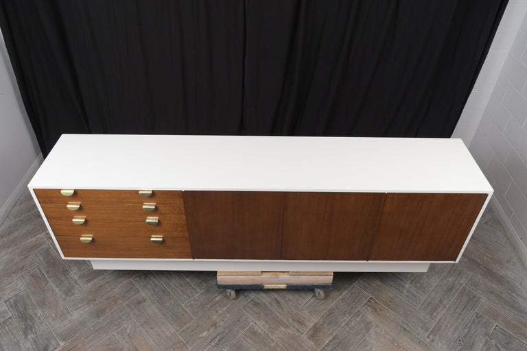 American Mid-Century Modern White Lacquered Credenza For Sale
