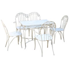 Mid-Century Modern White Metal Vintage Patio or Garden Furniture, 1950s, Austria