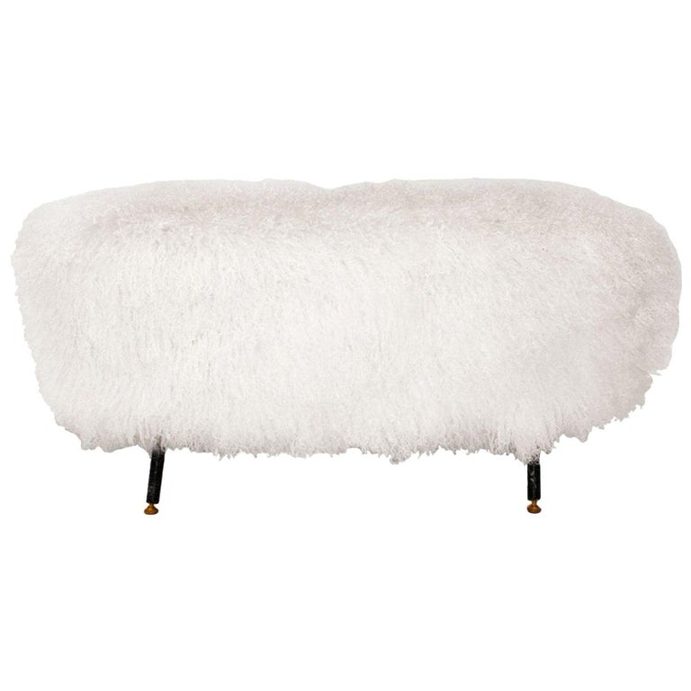 Mid-Century Modern White Mongolian Goat Fur Wood and Metal Italian Footstool For Sale