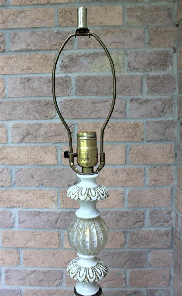 Metal Mid-Century Modern White Murano Art Glass Floor Lamp For Sale