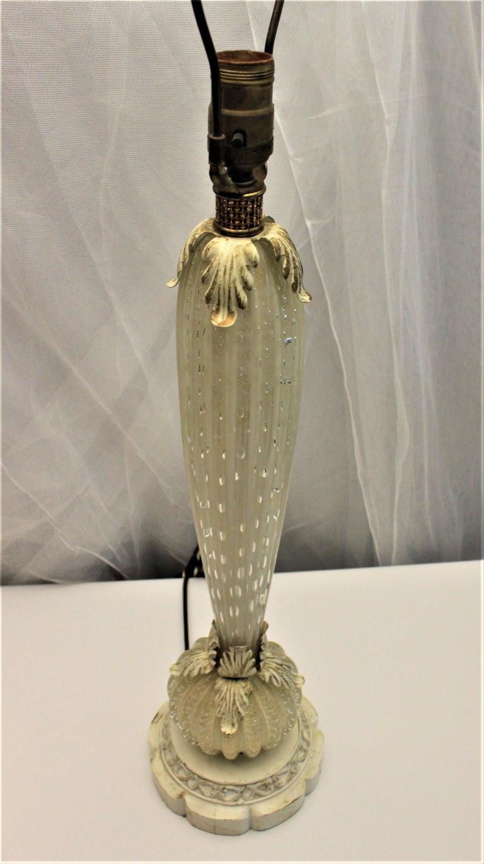 Italian Mid-Century Modern White Murano Art Glass Table Lamp For Sale