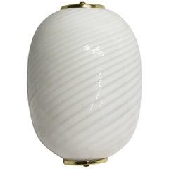 Mid-Century Modern White Murano Glass & Brass Sconce