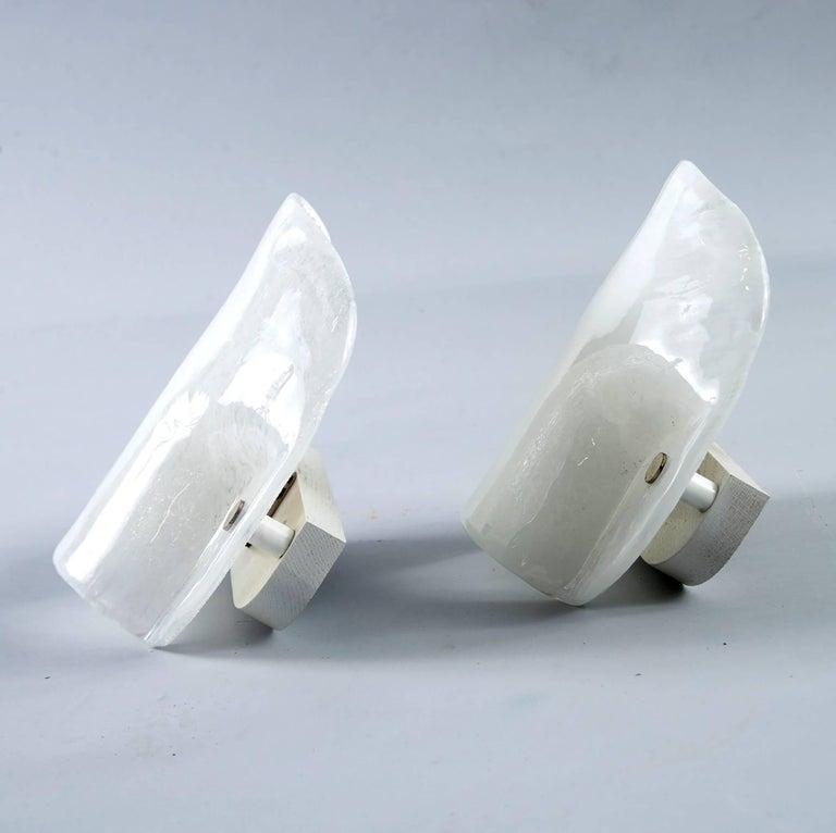 Italian Mid-Century Modern White Murano Glass Sconce For Sale