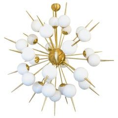 Mid-Century Modern White Murano Glass Sputnik Chandelier by Alberto Donà, 1980s