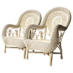 Mid-Century Modern White Natural Fiber Armchairs, France, 1960