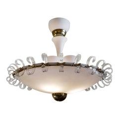 Mid-Century Modern White Opaline Glass & Brass Round Chandelier by Barovier