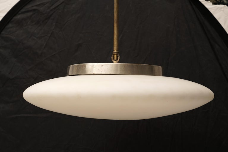 European Mid-Century Modern White Opaque Saucer Pendant Light For Sale