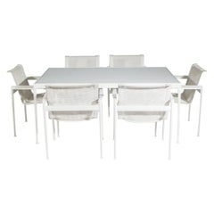 Mid-Century Modern White Patio Chairs and Table Set by Richard Schultz for Knoll