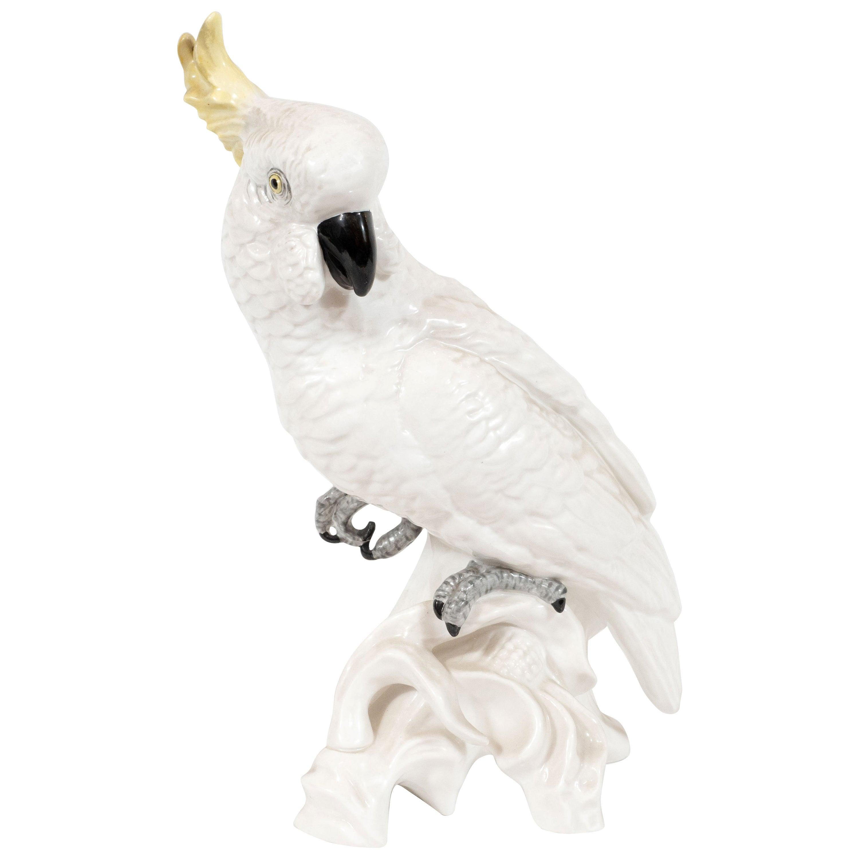 Mid-Century Modern White Porcelain Cockatoo by T.J. Jones for Staffordshire