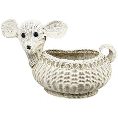 Mid-Century Modern White Rattan Wicker Lamb Basket after Mario Lopez Torres