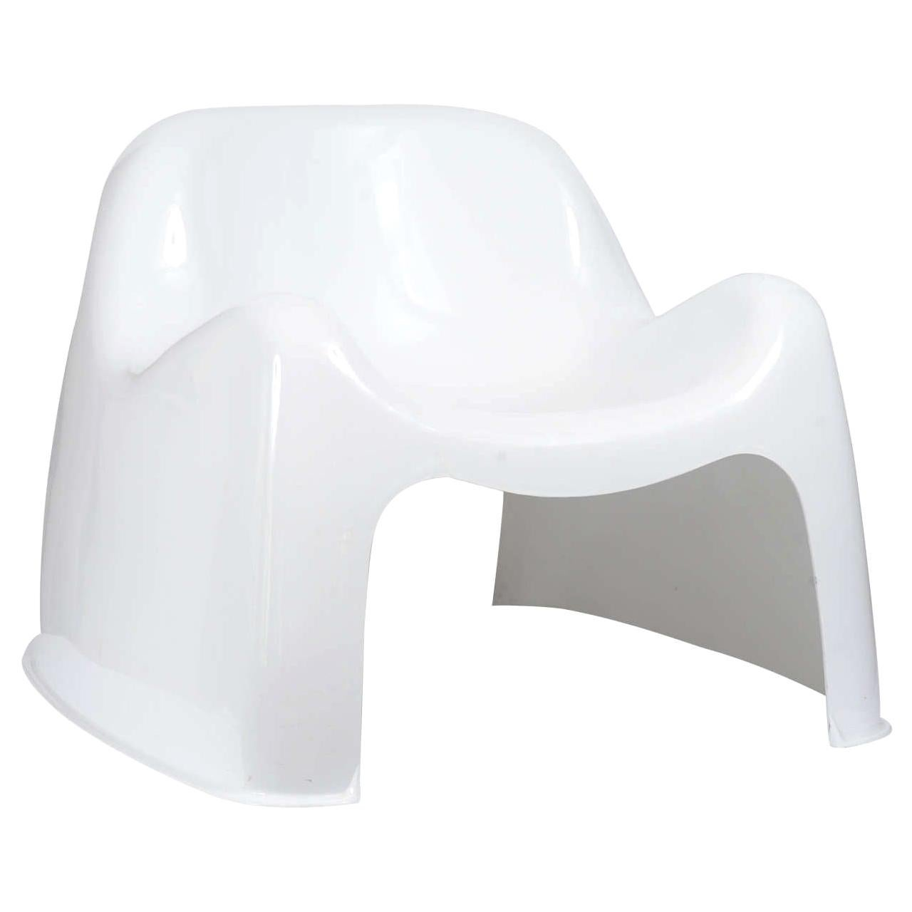 Mid-Century Modern White Toga Chair by Sergio Mazza for Artemide