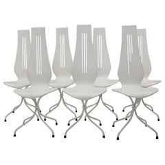 Mid-Century Modern White Vintage Dining Chairs by Theo Häberli, 1960 Switzerland