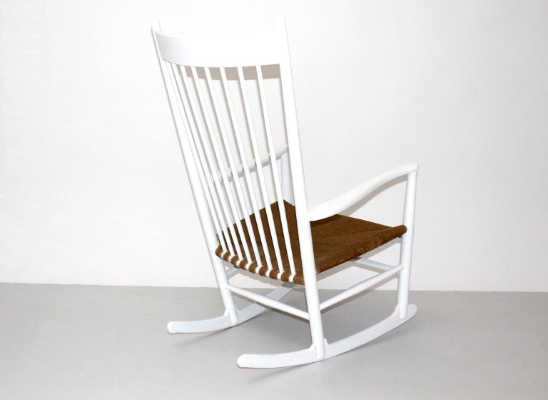 Tremendous Mid Century Modern White Vintage Rocking Chair J 16 By Hans Wegner Bralicious Painted Fabric Chair Ideas Braliciousco