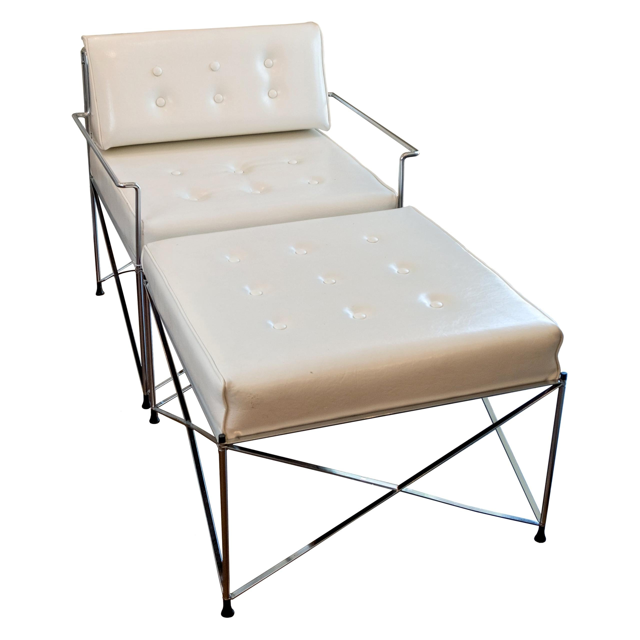 Mid-Century Modern White Vinyl and Chrome Chair with Ottoman