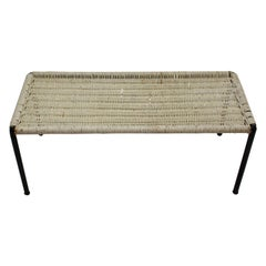 Mid-Century Modern White Wicker Side Table 1950s Austria
