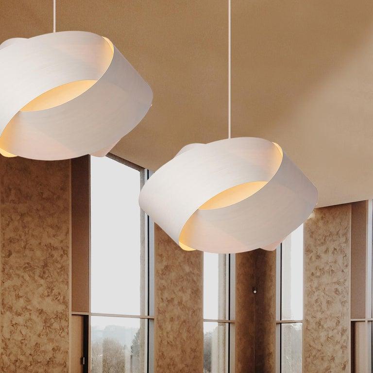 Scandinavian Modern Mid-Century Modern White Wood Veneer Chandelier Pendant