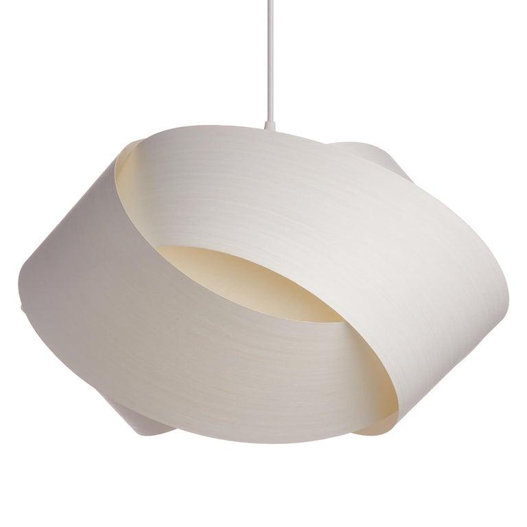 American Mid-Century Modern White Wood Veneer Chandelier Pendant