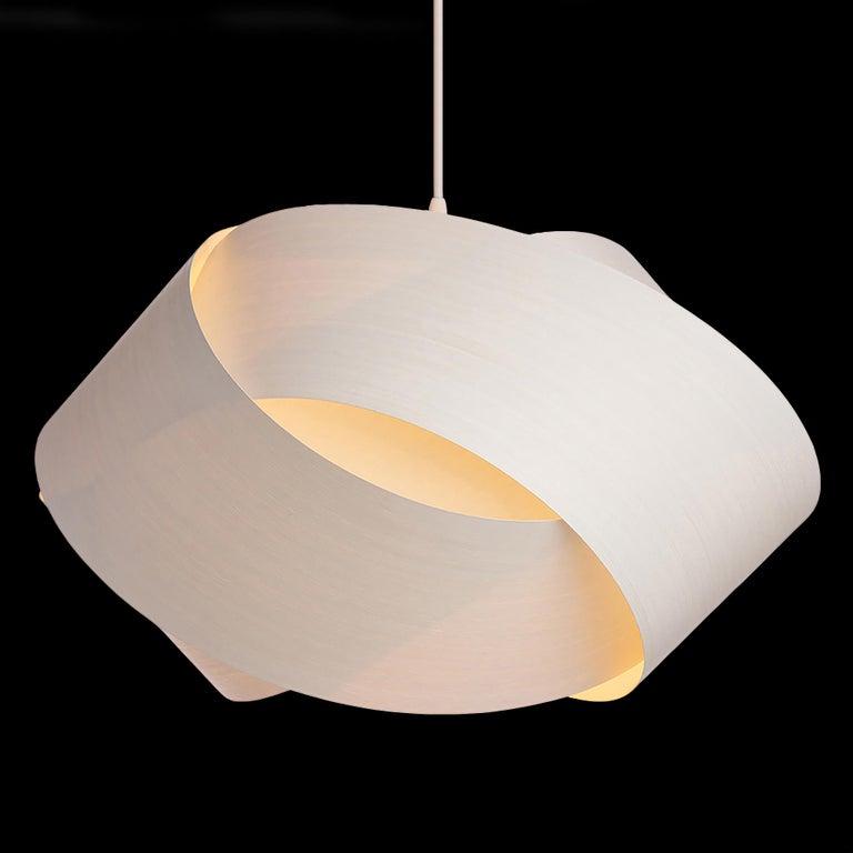 Mid-Century Modern White Wood Veneer Chandelier Pendant In New Condition In Bend, OR