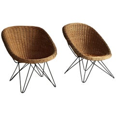 Mid-Century Modern Wicker Basket Chairs Hairpin Legs, Austria, 1950s