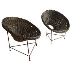 Mid-Century Modern Wicker Basket Chairs Tripod Legs, France, 1950s