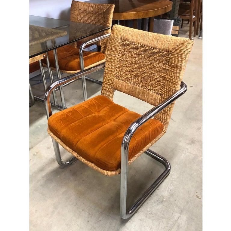 Mid Century Modern Wicker Chrome And Burnt Orange Velvet Dining Set For Sale At 1stdibs