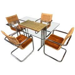Mid-Century Modern Wicker Chrome and Burnt Orange Velvet Dining Set