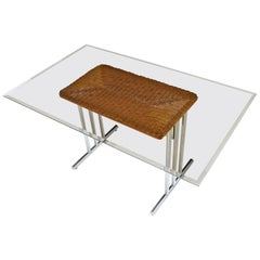 Mid-Century Modern Wicker Chrome Smoked Glass Dining Table