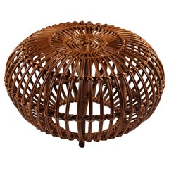 Mid-Century Modern Wicker Ottoman, Stool or Side Table