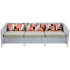 Mid-Century Modern Wicker Patio Three-Seat Sofa