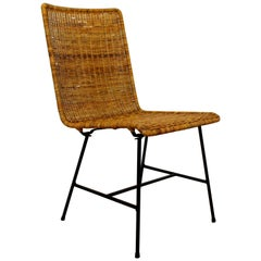 Mid-Century Modern Wicker Rattan Iron Side Chair, 1960s