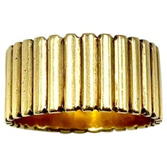Mid-Century Modern Wide Cigar Band Ring, 14K Yellow Gold Classic Reed Design