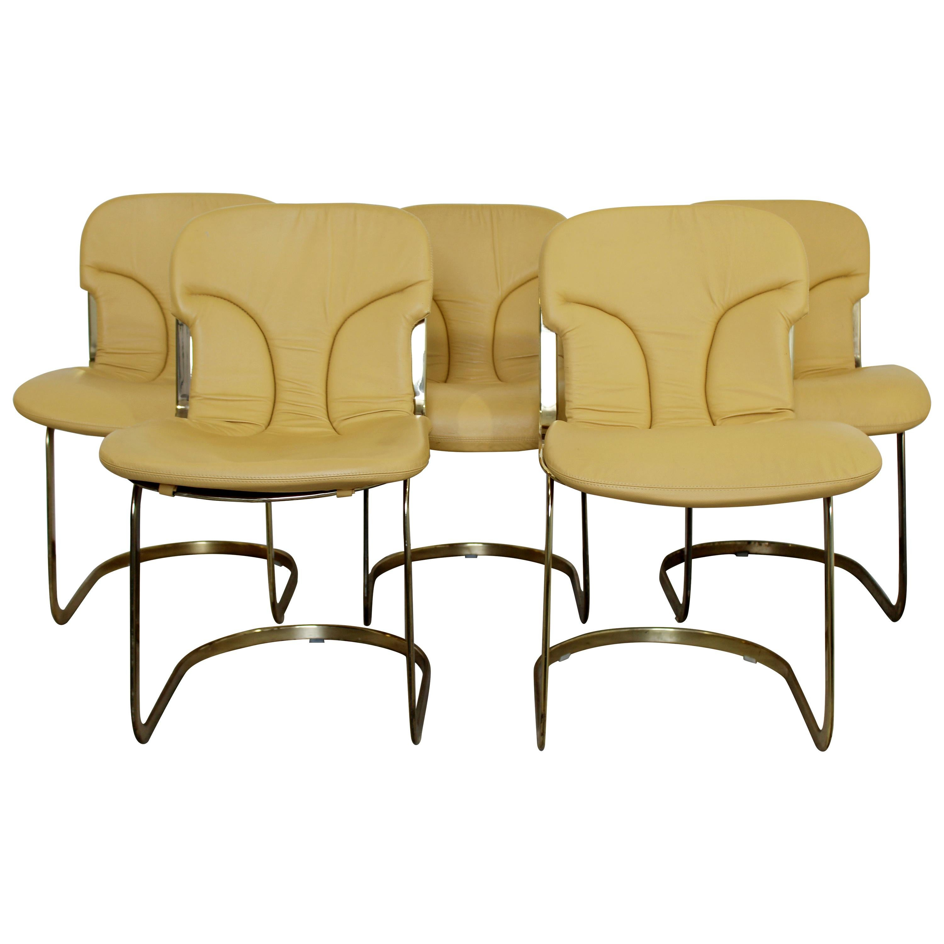 Mid-Century Modern Willy Rizzo for Cidue Set of 5 Brass Side Dining Chairs 1970s